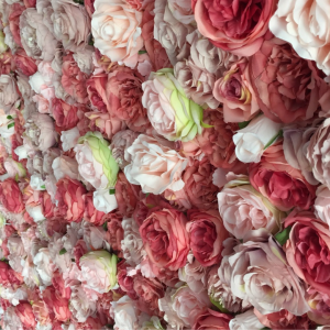 pink and blush pink rose flower wall