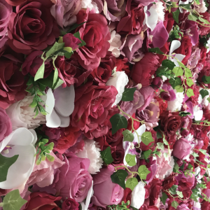 pink and white rose and orchid flower wall